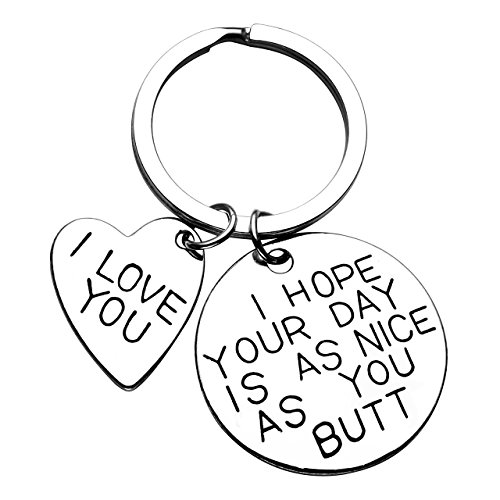 JOVIVI Valentines Gifts quotI Hope Your Day Is As Nice As Your Butt/I LOVE YOUquot Keychain Key Chain Ring for Couples Lover Husband Boyfriend Gift