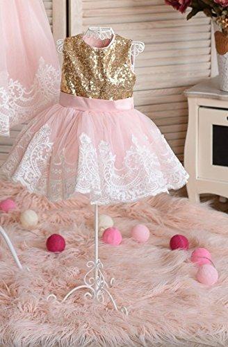 555ee24170 Amazon.com  Princess sequin lace tutu dress Flower girl sequin dress with  bow