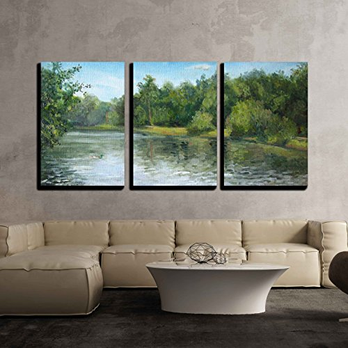 wall26 - 3 Piece Canvas Wall Art - Summer Landscape with Trees and Bushes, Oil Painting - Modern Home Decor Stretched and Framed Ready to Hang - 16