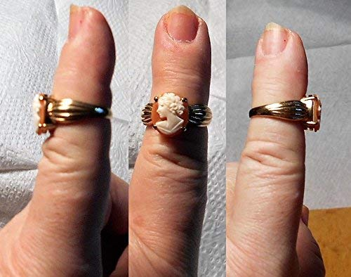 One 10KT GOLD CAMEO Ring Marked 10K Shell Cameo Ring, Solid Thick Gold Ring of Hand Carved Shell Cameo Vintage Ring.