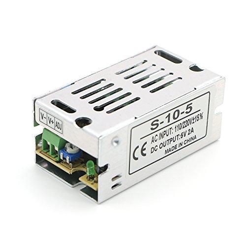Pasow 110V/220V to DC 5V 2A Switching Power Supply Transformer Converter for CCTV camera/ Security System/ LED Strip Light (5V, 2A) - Auto Reset Electronic Transformer