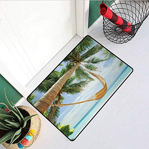 GloriaJohnson Holiday Welcome Door mat View of Nice Hammock with Palms by The Ocean Sandy Shore Exotic Artsy Print Door mat is odorless and Durable W29.5 x L39.4 Inch Green Cream Blue