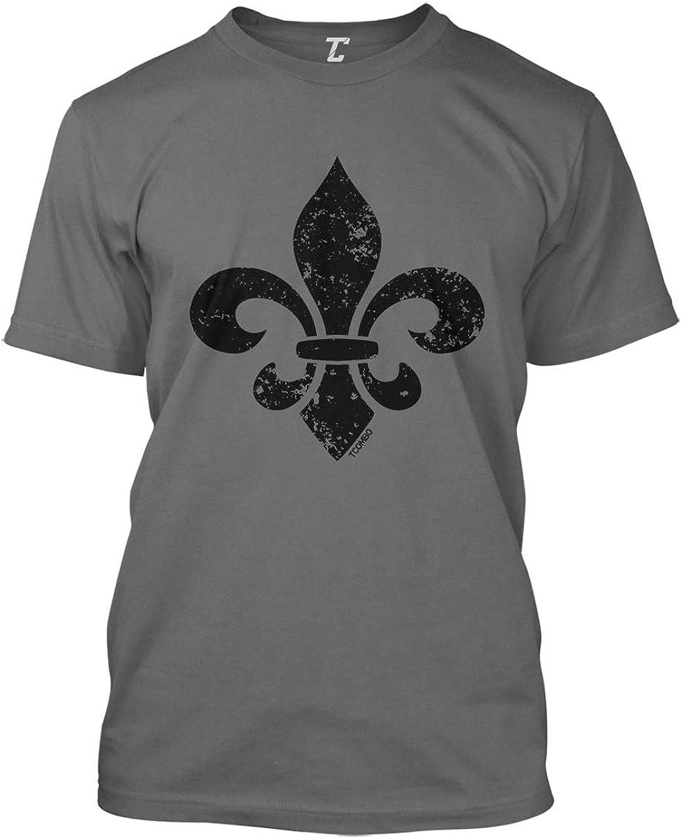 Metallic Mardi Gras Fleur De Lis Womens Cotton Short Sleeve T-Shirt Crewneck