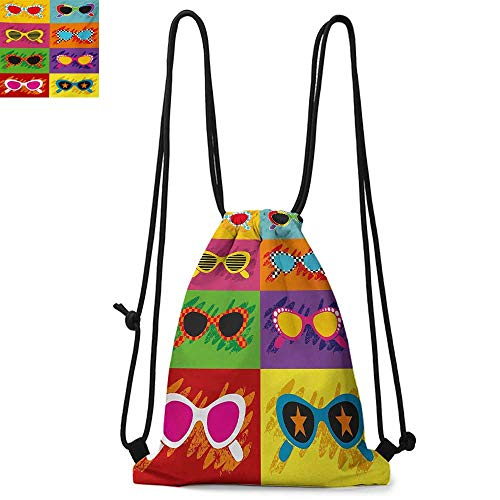 70s Party Printed drawstring backpack Pop Art Style Sunglasses Vibrant Colorful Combination Summer Season Fun Artwork Suitable for school or travel W17.3 x L13.4 Inch -