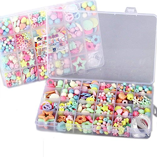 Elloapic 480 pcs Beads Maze Beading Supplies,Stringing Beads,Children's DIY Beads Bracelet Hair Clasp Necklace Kids Handmade Skills Toy Beads Gifts for Christmas,Birthday Wedding,24 Different Shapes by Elloapic