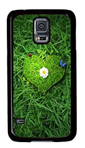 Rugged Samsung Galaxy S5 Case and Cover - Beautiful Green Heart Custom Design PC Case Cover for Samsung Galaxy S5 - Black