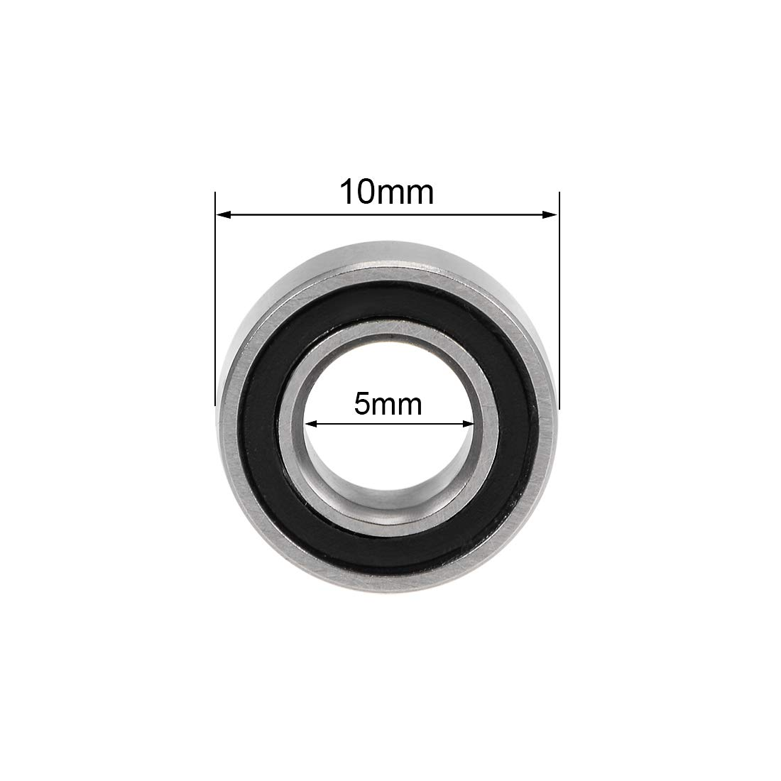 uxcell MR105-2RS Deep Groove Ball Bearings 5mm Inner Dia 10mm OD 4mm Bore Double Sealed Chrome Steel Z2 4pcs