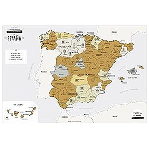 Enjoy Maps Discover Mapa Diseñada con Tinta Rascable, Papel estucado, Multicolor, 65 x 45 cm