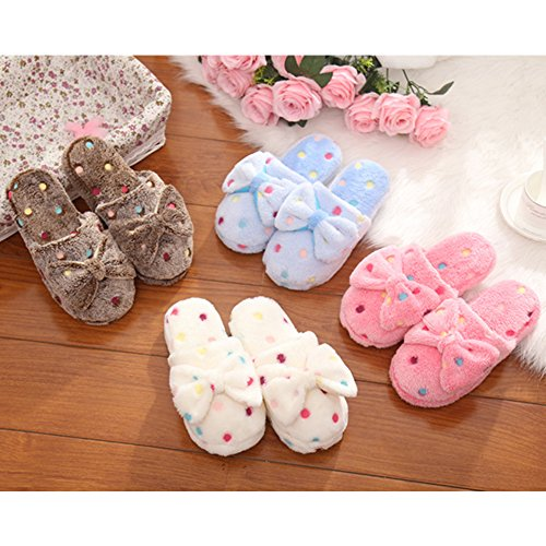 Eastlion Ladies Bow-knot Cotton Slippers Cute Round Points Winter Warm Anti-slip Indoor Slippers White ysMpxr7hn