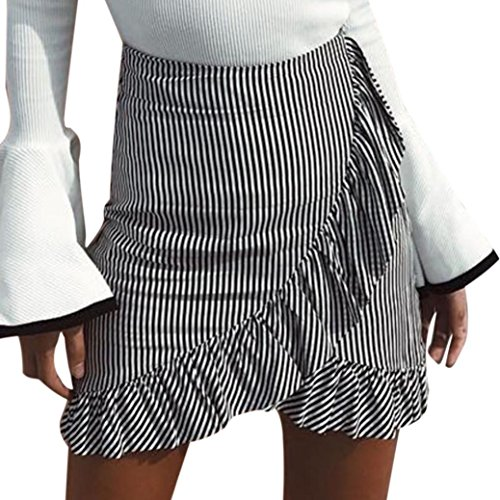 Short Skirt Howstar Women Casual High Waist Above Knee Mini Bohemia Skirt Dress (L)