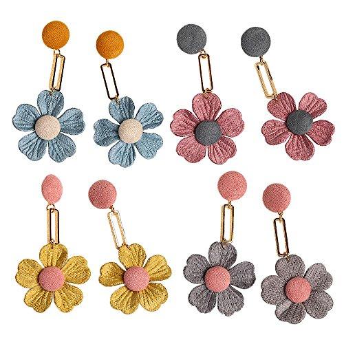[Myun 4 PCS Statement Cute Linen Flowers Drop Dangle Earrings Stud for Women Fashion Jewelry] (Simple Halloween Costumes For High School)