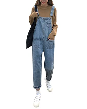Mujer Petos Vaqueros Overalls Denim Jeans Elásticos Vaqueros Pantalones Largo Casual Elegante Petos Sueltas