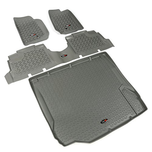 Jeep Wrangler Floor Liner - Rugged Ridge All-Terrain 14988.01 Grey Front, Rear and Cargo Floor Liner Kit For Select Jeep Wrangler Unlimited Models