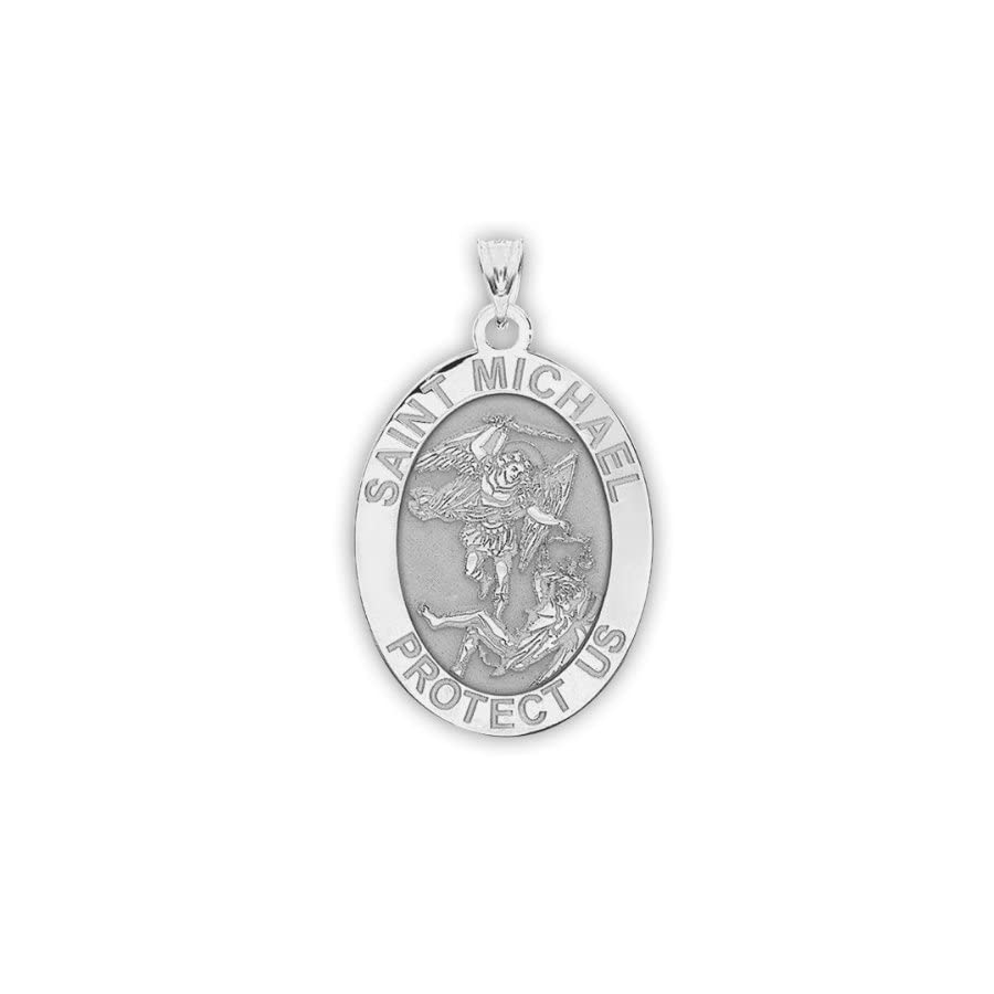 Saint Michael OVAL Religious Medal 2/3 X 3/4 Inch Size of Nickel, Solid 14K Yellow Gold