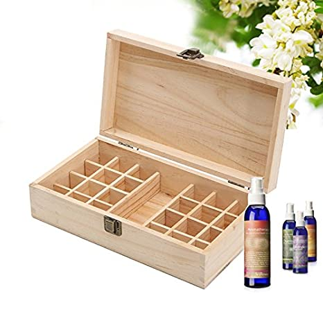 Amazon.com : 25 Compartment Wooden Essential Oil Storage Box Makeup ...