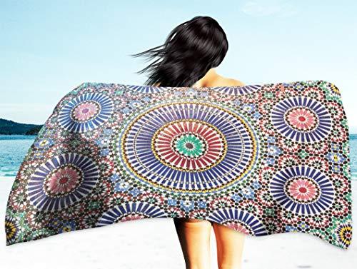 Kutita Moroccan Pattern Travel Beach Towel 30X60 Inch, Moroccan Tile Amp Stone Work Amp Best Full Morocco Mosaic Fast Dry Sand Free Microfiber Beach Towel Blanket Swim Camping ()