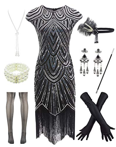 Women 1920s Vintage Flapper Fringe Beaded Gatsby Party Dress with 20s Accessories Set Black Silver -