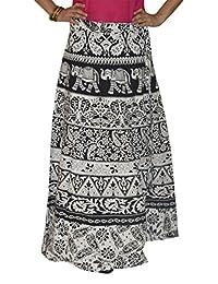 Marusthali Wrap Skirt Printed Cotton Gypsy Sarong Wrap Around Skirt Long Wraparound Skirts White