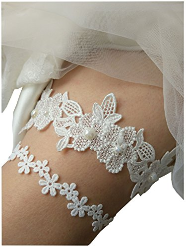 Lace wedding garter set floral style bridal gaters legs garter set P15a (Ivory)