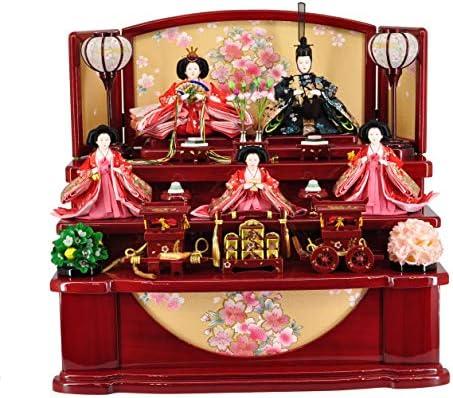雛人形収納飾り 赤塗 刺繍収納三段 【W60cm×D47cm×H54cm】