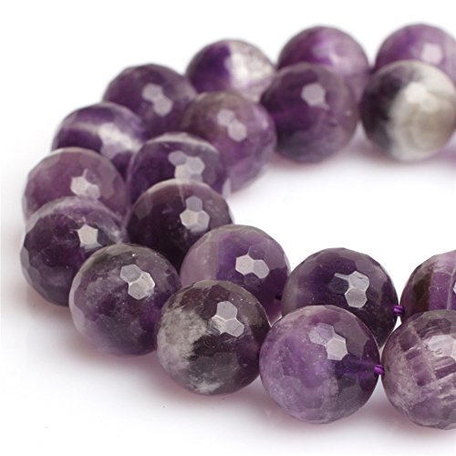 Faceted Amethyst Bead Necklace - Dream Lace Amethyst Beads for Jewelry Making Natural Gemstone Semi Precious 10mm Round Faceted 15