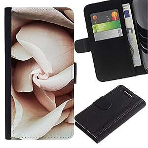 Billetera de Cuero Caso Titular de la tarjeta Carcasa Funda para Sony Xperia Z1 Compact D5503 / Petals Light Pink Close Up Blossom / STRONG