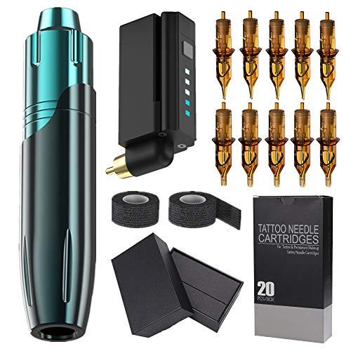 Tattoo Machine Kit Rotary Tattoo Pen Kit Rotary Tattoo Guns Wireless Tattoo Power Supply 20Pcs Cartridge Tattoo Needles