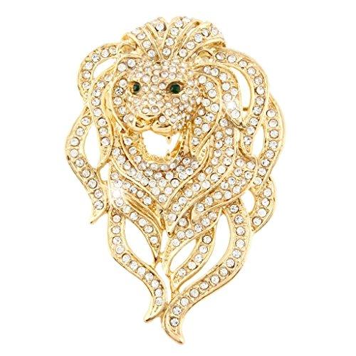 EVER FAITH Austrian Crystal Gorgeous Animal Lion Head Brooch Clear Gold-Tone (Stone Brooch 3)