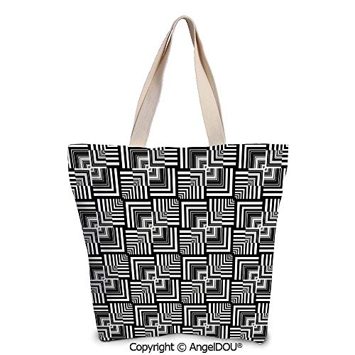 SCOXIXI Black and White Casual Canvas Tote Bag Reusable Shopping Bag Geometric
