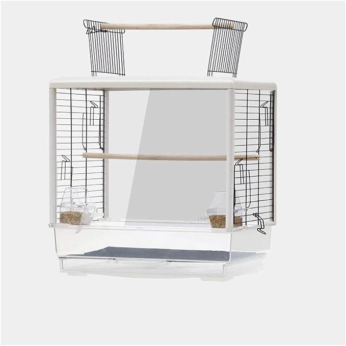 Jaula de loros Loro jaula de pájaro de lujo grandes de cría de la jaula jaula de pájaros de la jaula de pájaros ornamentales transparente portátiles de pequeño tamaño Pájaros Viajes Birdcage Jaula de