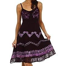 Sakkas Jolie Batik Embroidered Adjustable Spaghetti Strap Dress