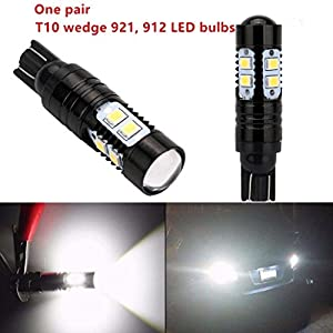 Car LED Light,Car-styling NEW 2 x 50W 921 912 T10 T15 LED 6000K HID White Backup Reverse Lights Bulb (Black)