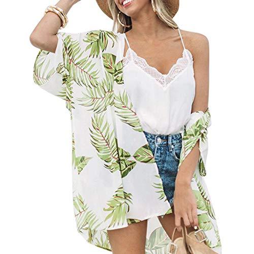 ◐OFEFAN◑ Women's Floral Print Sheer Loose Kimono Cardigan Capes ()