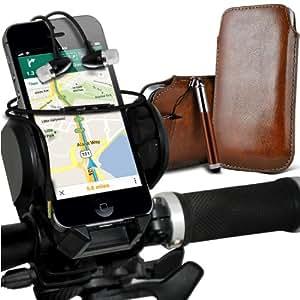 Samsung Galaxy S3 i9300 premium protección PU ficha de extracción de deslizamiento del cable En caso de la cubierta de la piel de la bolsa de bolsillo, superior de la calidad en auriculares de botón estéreo de manos libres de auriculares Auriculares con micrófono Mic y botón de encendido y apagado, retráctil Sylus pluma y universal de bicicletas Bike Mount Holder Soporte horquilla del soporte del manillar de soporte 360 ??grados de rotación de Brown por Spyrox