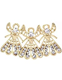 Winter Jewelry Ornaments Christmas Angel Brooch Angel Wings Pin Clear Rhinestones