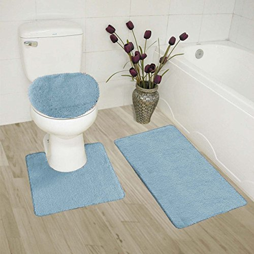 MK Home Collection 3 Piece Bathroom Rug Set Bath Rug, Contour Mat, Lid Cover Non-Slip with Rubber Backing Solid Slate Blue New