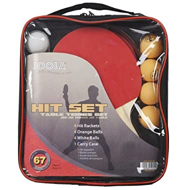 JOOLA Hit Recreational Table Tennis Set with 4 Racket and 4 White and 4 Orange Balls