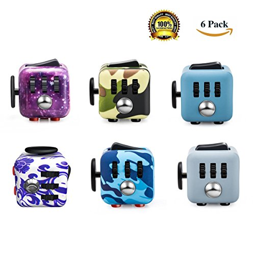 FIDGET DICE 6 Pack Cube Fidget Toys For Kids & Adults, for ADD ADHD Stress And Anxiety Relief