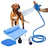 Four Noses: Dog Shower Sprayer Bundle 3 in 1 - Super Absorbent Dog Shower Towel - Pet Bathing Scrubber in-One for Pets - Massage & Remove Hair Indoor Shower/Bathtub and Outdoor Attachment