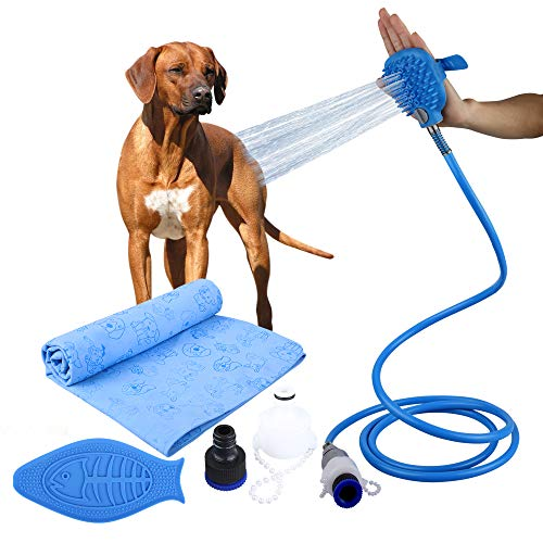 (Four Noses: Dog Shower Sprayer Attachment 3 in 1 - Super Absorbent Dog Shower Towel - Pet Bathing Scrubber in-One for Pets - Massage & Remove Hair Indoor Shower/Bathtub and Outdoor Attachment)