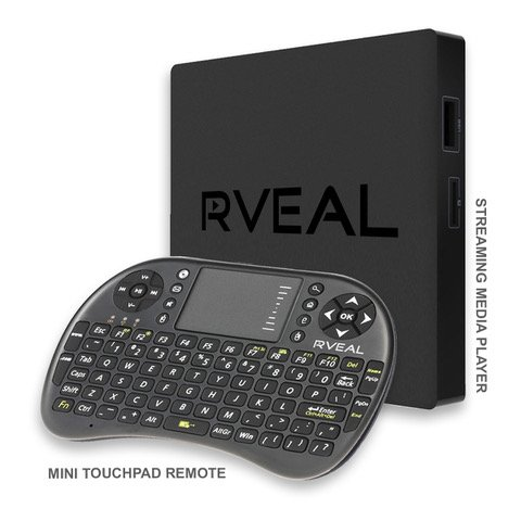 Rveal 2 Streaming Media Player and Mini Touchpad Keyboard Remote [2018 Model, Android TV Box, Automated Updates, S912 Octa-Core CPU, H.265 4K HD]