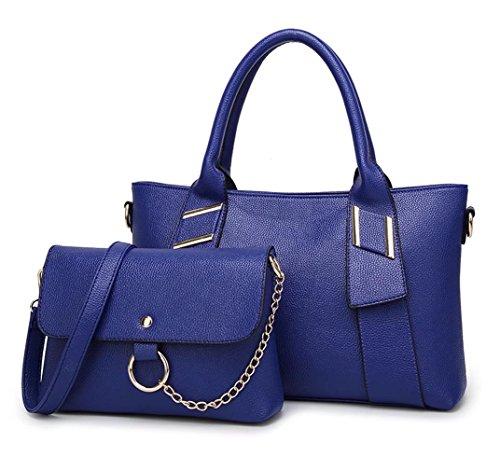 Hopeeye Mode Femmes Pu Sacs Fourre-Tout en Cuir Pu Femmes (dwpj13-2-black) 1-blue