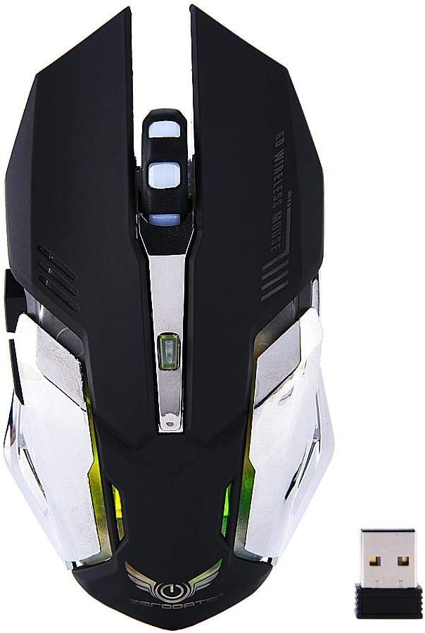 Laptop Black Computer PC Yoidesu 2.4G Wireless Gaming Mouse 2400DPI PC Rechargeable Gaming Mice with Unique Silent Click Ergonomic Grips Portable Mobile Mouse for Notebook