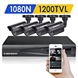 DEFEWAY 1080N DVR 1200TVL 720P HD Outdoor Home Security Video Surveillance Camera System no Hard Drive