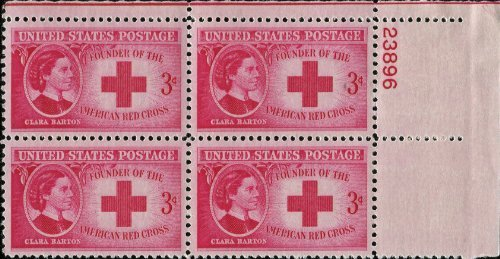 - AMERICAN RED CROSS ~ CLARA BARTON ~ NURSING #967 Plate Block of 4 x 3¢ US Postage Stamps