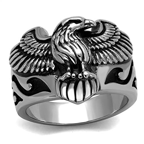 Drop of Silver Stainless Steel Epoxy Black Design Men's Winged Bald Eagle Biker Ring, Size 10