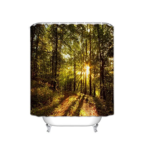 JANNINSE Nature Landscape Theme Tree Shower Curtain, Sunlight Through Thick Trees And Forest Trail Landscape Shower Curtain, Fabric Bathroom Decoration With Hook, 72X84 Inch, Yellow Green -