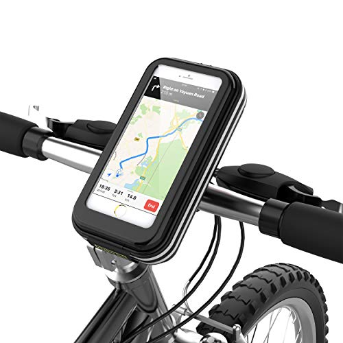 lovicool Bike Phone Case Cycling Phone Bag Phone Holder Road Mountain Bike Holder Bicycle Bag with Waterproof Sensitive Touch Screen Phone Case Below 6.2 inch[Enhanced Version 2019] ()