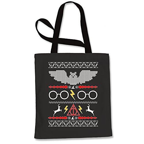 Expression Tees Tote Bag Harry Potter Fawkes Gryffindor Ugly Christmas Sweater Black Shopping Bag (Tee Alumni)