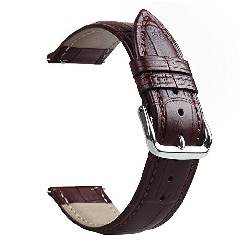 Genuine Crocodile Band (Gear S3 Watch Band, 22mm Genuine Leather Crocodile Pattern Band Strap with Quick Release Pins for Samsung Gear S3 Classic/S3 Frontier (Brown))